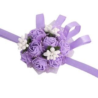 Wedding Party Foam Bridesmaid Dancer Hand Corsage Decor Wrist Flower Purple