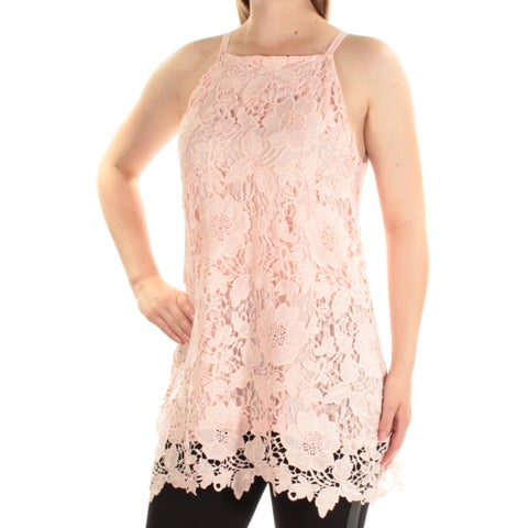 ALFANI Womens Pink Lace Spaghetti Strap Square Neck Top Size: 8