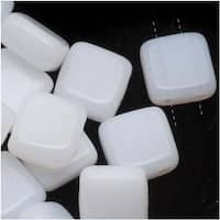 CzechMates Glass 2-Hole Square Tile Beads 6mm 'Opaque White' (1 Strand)