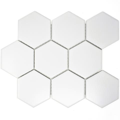 "TileGen. 3.75"" x 3.75"" Hexagon Porcelain Tile in White Floor and Wall Tile (11 sheets/8.2sqft.)"