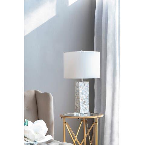 "14x14x26"" Pearlescent Acrylic Ectangular Column Lamp - white"