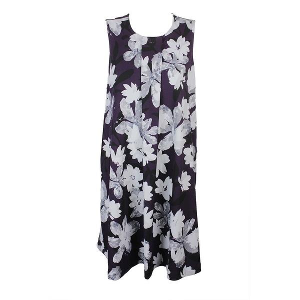 eeddc9d94ce Shop Alfani Plus Size Purple Grey Floral-Print A-Line Dress 16W ...