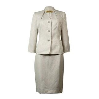 Kasper Women's Fleur de Lis Metallic Skirt Suit - ivory shimmer