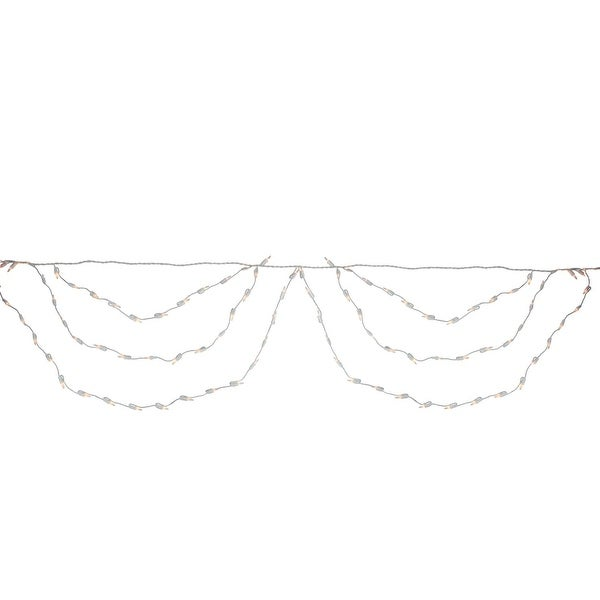 """Set of 150 Clear Mini Swag Christmas Lights 3.5"""" Spacing - White Wire"""