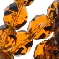 Czech Fire Polished Glass Beads 8mm Round Brown Tortoise (25)