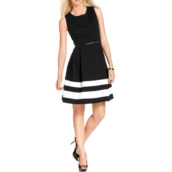 Calvin Klein Womens Petites Wear to Work Dress Colorblock Ponte