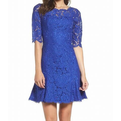 Eliza J Womens Sea Blue Size 2 Floral-Lace Illusion A-Line Dress