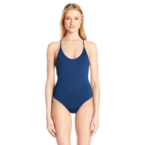 Dolce Vita Women's Solid One Piece Cross Back Swimsuit, Dusk, SIZE XS