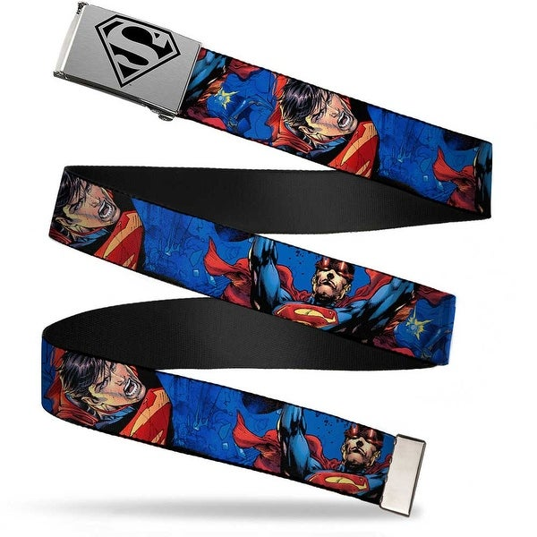 Superman Shield2 Brushed Silver Black Cam Chrome New 52 Superman Web Belt