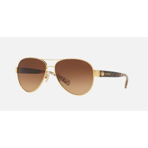 Coach Women's HC7063 926013 58 Aviator Metal Plastic Gold Brown Sunglasses