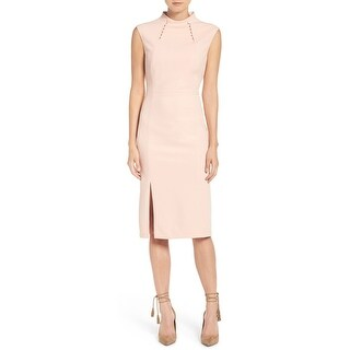 Ivanka Trump Embellished Mock-Neck Sheath Dress Blush Ballet Pink 6