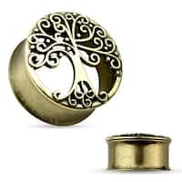 Tree Of Life Antique Gold IP Double Flared Tunnel (Sold Individually)