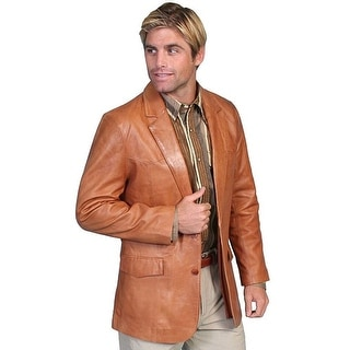 Scully Western Blazer Mens Lambskin Button Back Vent Tan 501-171