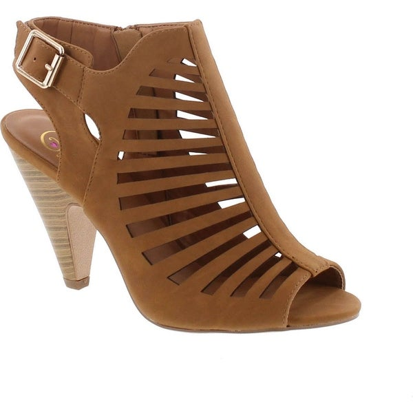 Delicious Shaky-S Womens Cut Out Strappy Buckle Sling Back Chunky High Heel Sandals