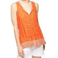Sanctuary Orange Women's Size Small S Printed Split-Neck Tank Top