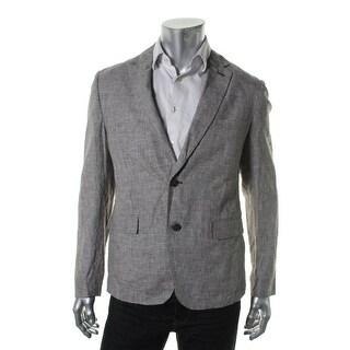 Zara Mens Linen Houndstooth Two-Button Blazer - 40