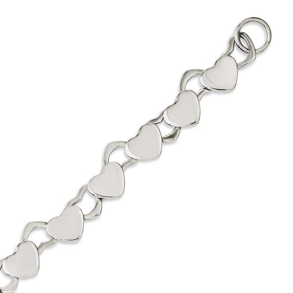 Chisel Stainless Steel Polished Hearts 8.5in Toggle Bracelet