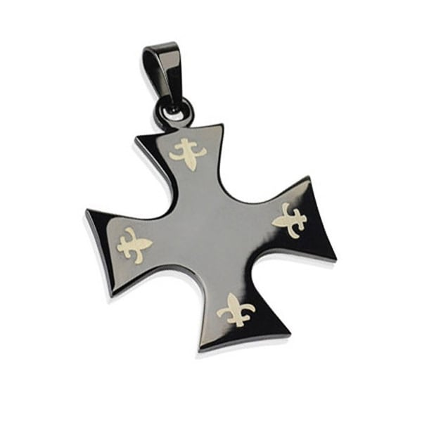 Stainless Steel Black Plated Celtic Cross with Tribal Inlay Pendant (28 mm Width)
