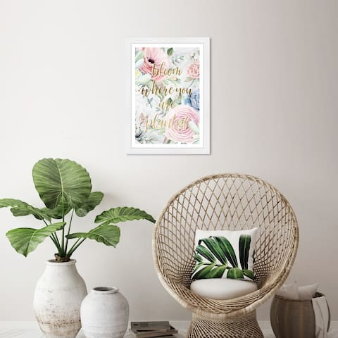Wynwood Studio 'Where you are planted' Floral and Botanical Pink Wall Art Framed Print