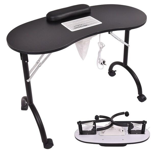 Shop Costway Black Folding Portable Vented Manicure Table