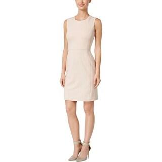 Calvin Klein Womens Petites Party Dress Faux-Suede Trim Sheath