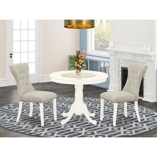 Link to ANGA3-ABK-24 3-Pc Dining Set Included a Kitchen Table & 2 Chairs, Black Linen Fabric Chairs Seat , Wirebrushed Black Finish Similar Items in Dining Room & Bar Furniture