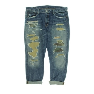 Denim & Supply Ralph Lauren Womens Boyfriend Jeans Patchwork Destroyed