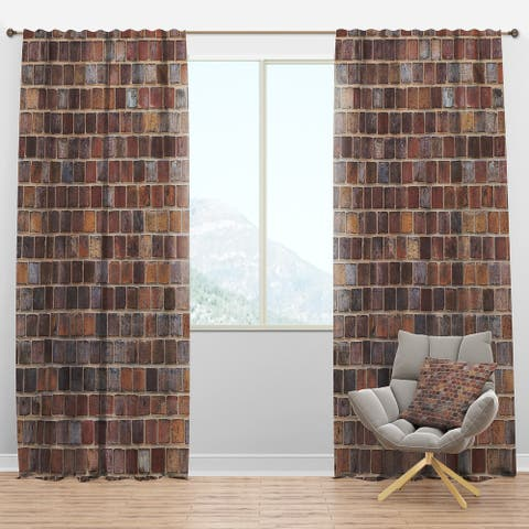 Designart 'Red Brick WallTexture' Modern & Contemporary Blackout Curtain Panel