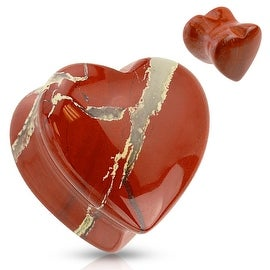 Heart Shaped Red Jasper Natural Stone Saddle Plug (Sold Individually)