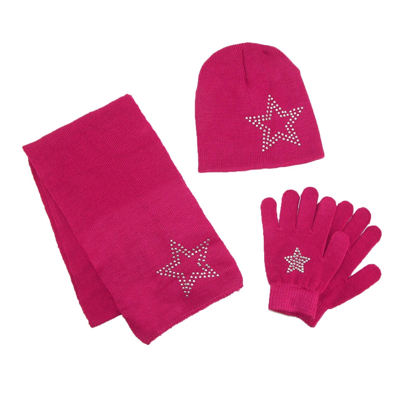 CTM/® Girls Stud Accent Hat Glove and Scarf Winter Set Pink