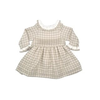 Coquelicot Little Girls Beige Contrast Collar Knee Length Pleated Dress
