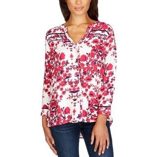 Lucky Brand Womens Button-Down Top Ladder Stitch Floral Print