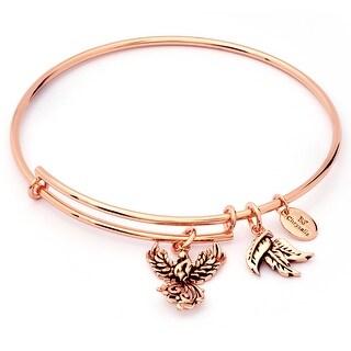 Charmed Phoenix Adjustable Charm Bangle Bracelet For Women, Rose Gold Plated