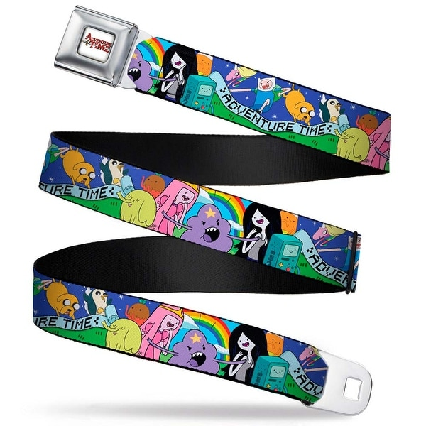 Adventure Time Logo White Full Color Adventure Time Scroll Character Seatbelt Belt