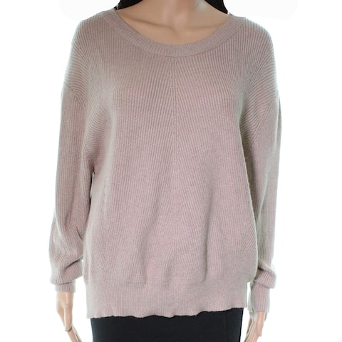 Elodie Women's Beige Size XS Pullover Ribbed Trim Crewneck Sweater
