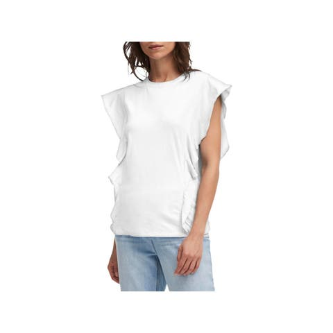 DKNY Womens Pullover Top Cotton Butterfly Sleeve