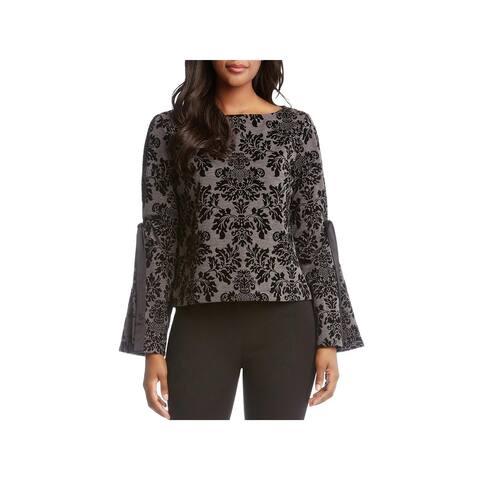 Karen Kane Womens Pullover Top Printed Bell Sleeves