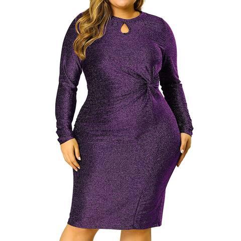 Women's Plus Size Keyhole Bodycon Sequin Cocktail Midi Glitter Dress
