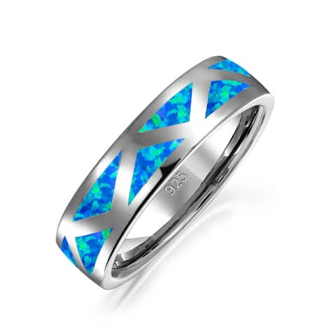 Created Blue Opal Inlay Ring Band Triangular Accents Rhodium Plated Polished Finish 925 Sterling Silver 6mm