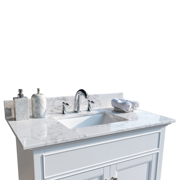 Bathroom Stone Vanity Top with Rectangle Undermount Ceramic Sink. Opens flyout.