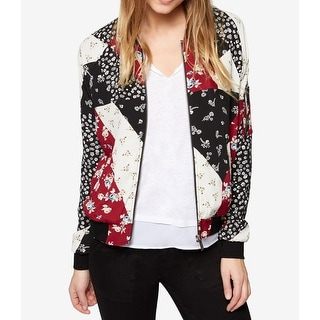 Link to Sanctuary Womens Bomber Jacket Black Multi Size XS Floral Colorblock Similar Items in Women's Outerwear