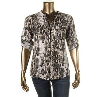 Calvin Klein Womens Linen Printed Button-Down Top