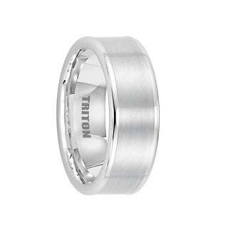 ABRAMS Flat White Tungsten Wedding Band With Brushed Center By Triton Rings 8mm