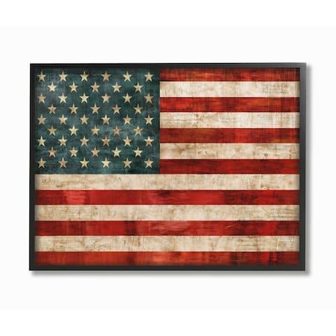 Stupell Industries US American Flag Wood Textured Design Framed Wall Art
