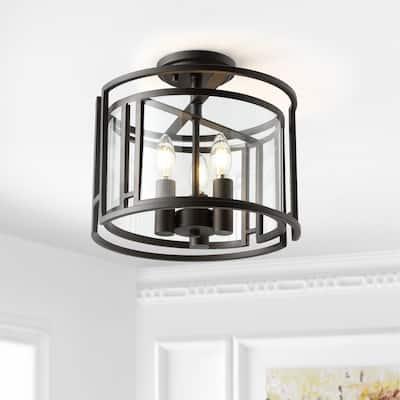 "SAFAVIEH Lighting Yarlin 3-light LED Flush Mount - 13"" W x 13"" L x 11.75"" H"