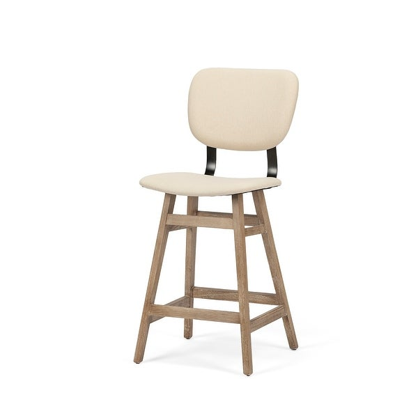 "Mercana Haden 26.5"" Seat Height Cream Upholstered Seat Brown Wood Frame Stool. Opens flyout."