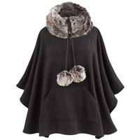 Parkhurst Women's Tasha Faux Fur-Trimmed Poncho - Black Sweater - One size
