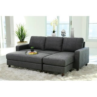 Link to Porch & Den Danyan Grey Fabric Reversible Sectional and Ottoman Similar Items in Living Room Furniture Sets