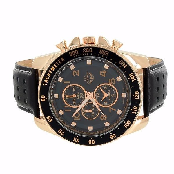 Mens NY London Watch Rose Gold Finish Black Leather Band Chronograph 3 Timezone
