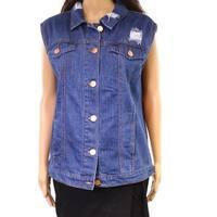 Ashley Mason Blue Women's Small S Embellish Embroider Denim Jacket